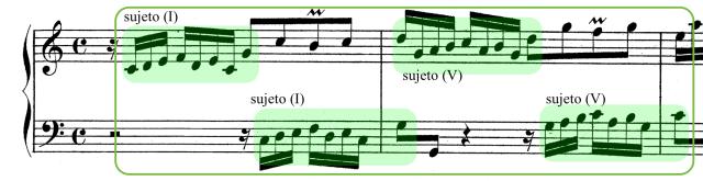 Ritornello inicial de la Invención nº1. El sujeto es expuesto dos veces por la voz superior (en los grados I y V), y respondido en eco por la inferior.