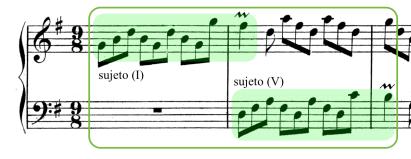 Ritornello inicial de la Invención nº10. El sujeto es expuesto por la voz superior en la tónica, y respondido en eco por la inferior en la dominante.