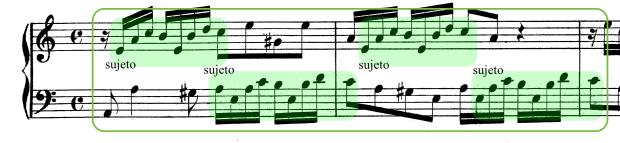 Ritornello inicial de la Invención nº13. El sujeto es expuesto tres veces alternando entre las voces superior e inferior. El propio sujeto incorpora en sí mismo las funciones de tónica y de dominante.