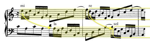 Secuencia modulante en canon a la 12ª inferior. La línea melódica iniciada por la voz superior, se reproduce en la inferior a distancia de 12ª.