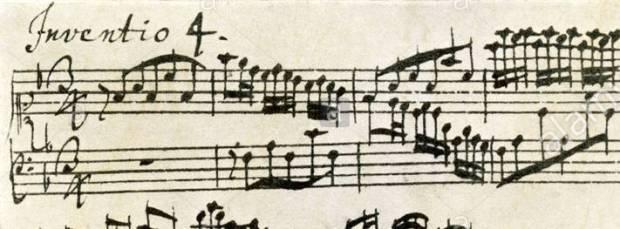 Inicio en canon de la Invención nº8 en versión manuscrita de J.S. Bach.