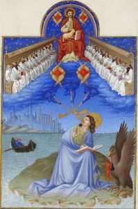 Visión de los 24 tronos de San Juan Evangelista en una iluminación del libro de horas Les Très Riches Heures du Duc de Berry (s.XV).