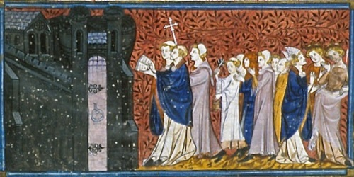 Procesión con canto, miniatura de las Crónicas de Francia o de San Denis, Paris (s.XIV).