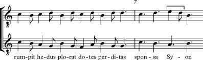 Transcripción rítmica del fragmento anterior.