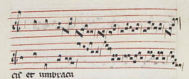 """Cauda del conductus """"Quod promisit"""" (inicio), según W2, 111-112v."""