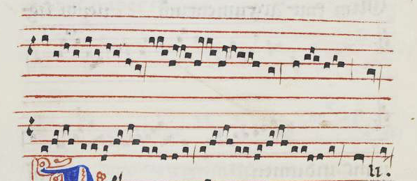 "Cauda del conductus ""Quod promisit"" (final), según W2, 112v."