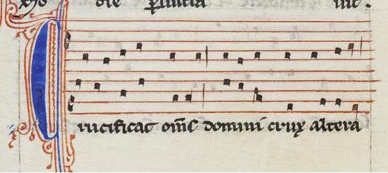 """Inicio del conductus """"Crucifigat omnes"""", según W2, 111-112v."""