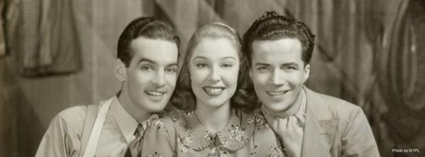 Ray McDonald, Mitzi Green y Duke McHale, protagonistas de Babes in Arms en el estreno de 1937.