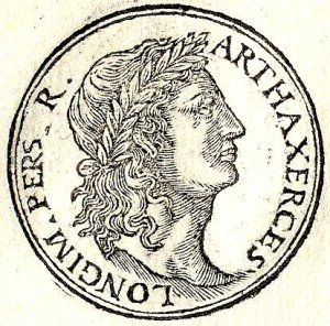 Efigie de Artajerjes I según un grabado de Guillaume Rouille (s.XVI).