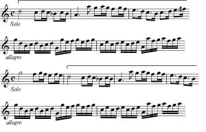 Sujetos utilizados en el inicio de los distintos episodios de la tercera sección de la Sonata II, nº4 de Castello.