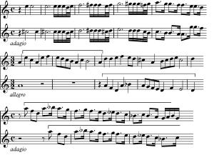 Sujetos utilizados en el inicio de los distintos episodios de la cuarta sección de la Sonata II, nº4 de Castello.