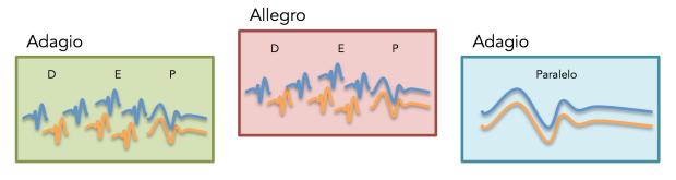 Sección-movimiento tipo de una sonata a 2 de Dario Castello. La tensión y distensión se produce principalmente mediante los cambios de tempo.