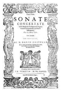 Frontispicio de las Sonatas concertadas en estilo moderno. Libro II.