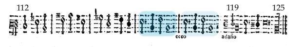 """Efecto de """"eco"""" en la Sonata nº4 del Libro II de sonatas (1629) de Dario Castello."""
