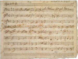 Primera página del manuscrito original de los cuartetos de cuerda milaneses de W. A. Mozart.