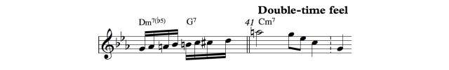 """Figura """"cohete"""" utilizada por Davis como anticipación del double-time feel."""