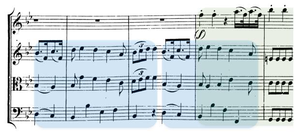 El cuarteto K.159 incluye un solapamiento de una extensión excepcional (un compás) entre dos frases musicales. En este caso, el final del tema A y la transición.